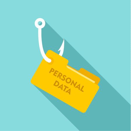 Phishing personal data icon, flat style Illustration