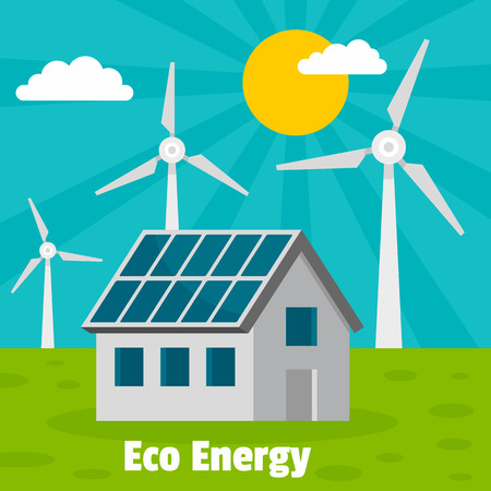 Eco energy home concept background. Flat illustration of eco energy home vector concept background for web design Vettoriali