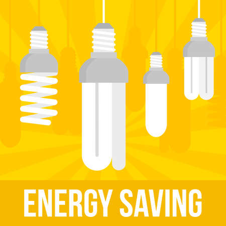 Energy saving bulb concept background, flat style Vectores