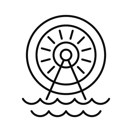 Water energy wheel icon, outline style