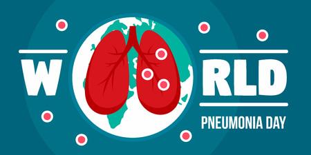 Pneumonia day banner horizontal, flat style