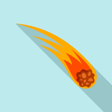 Flame meteorite icon, flat style