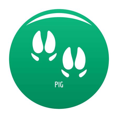 Pig step icon vector green