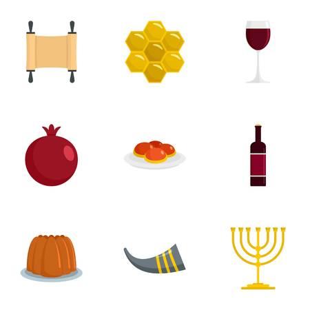 Jeu d'icônes Happy rosh hashanah, style plat