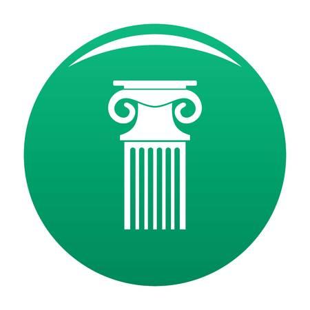 Decorative column icon vector green Illustration