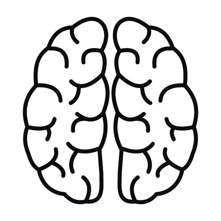 Human brain icon, outline style