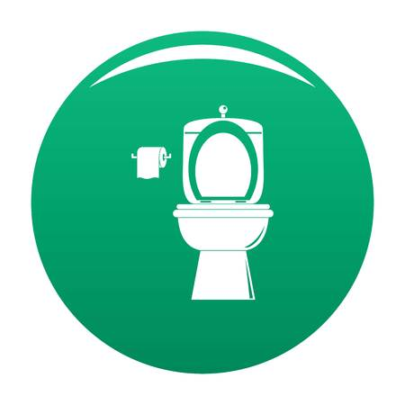 Ceramic toilet icon green Stock Photo