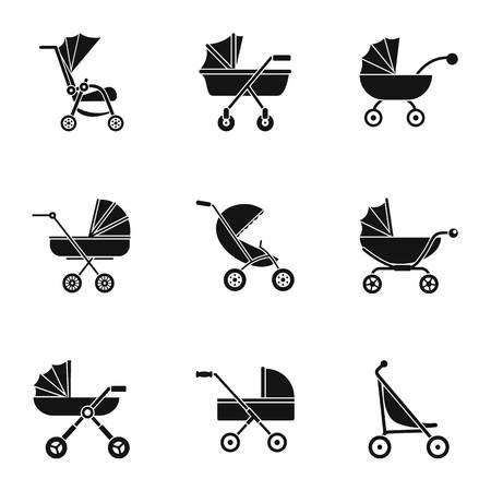 Pram icon set. Simple set of 9 pram vector icons for web design on white background Ilustración de vector