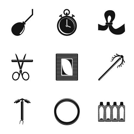 Type contraception icon set, simple style