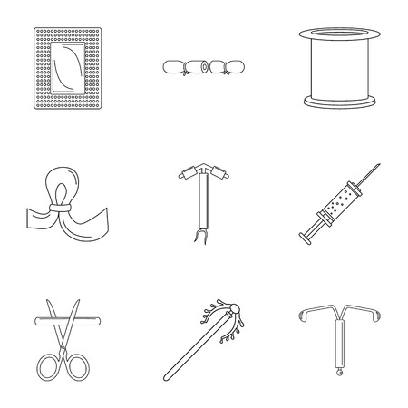 Type contraception icon set, outline style