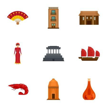 Vietnam tradition icon set, flat style