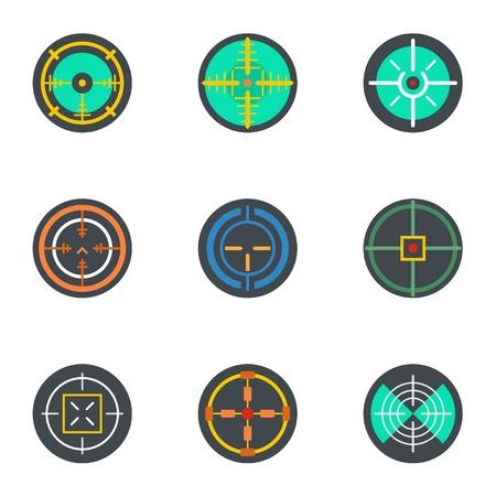 Crosshair icon set, flat style Ilustração