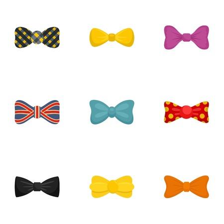 Elegant bow tie icon set. Flat set of 9 elegant bow tie vector icons for web design