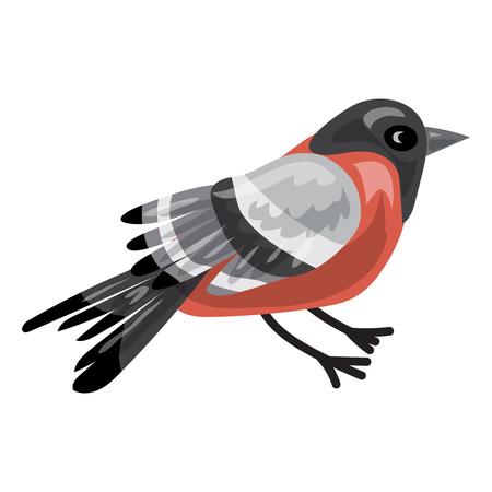 Bullfinch icon, cartoon style Vector Illustration