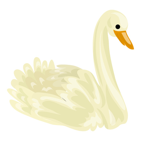 White swan icon. Cartoon of white swan vector icon for web design isolated on white background