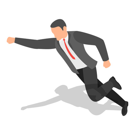 Businessman fly to success icon set, isometric style