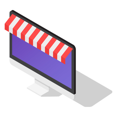 Online shop icon set, isometric style