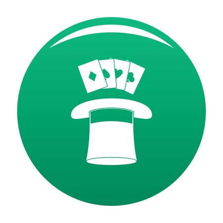 Hat with card icon vector green Vectores