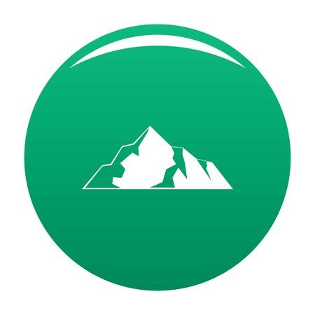 Ice mountain icon vector green Ilustração