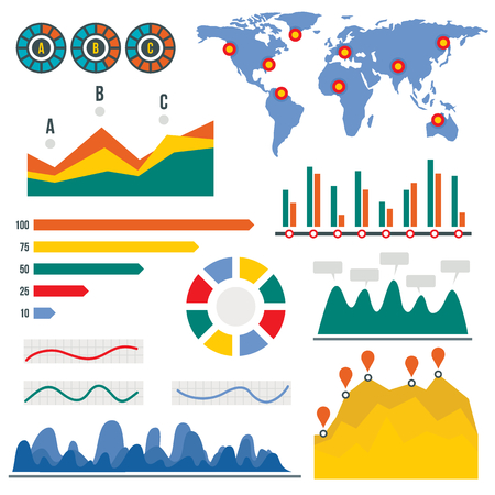 Visualization infographic, flat style template design