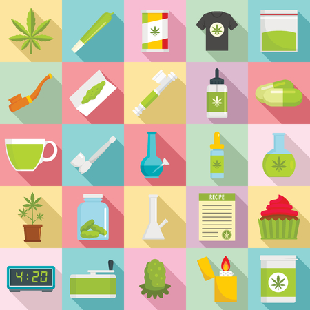 Cannabis icon set, flat style template design vector illustration
