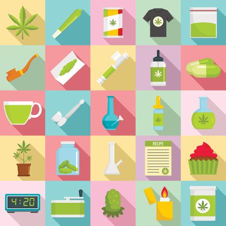 Insieme dell'icona di cannabis, illustrazione di vettore di progettazione del modello di stile piano