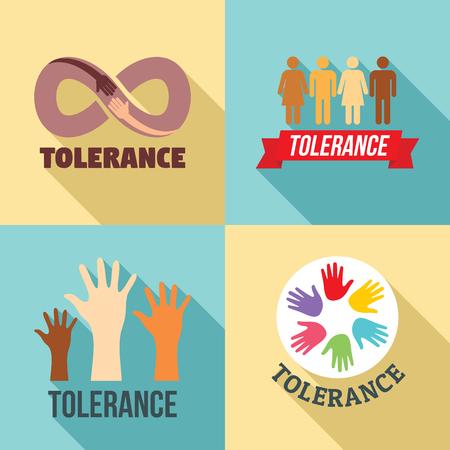 Tolerance logo set, flat style template design vector illustration