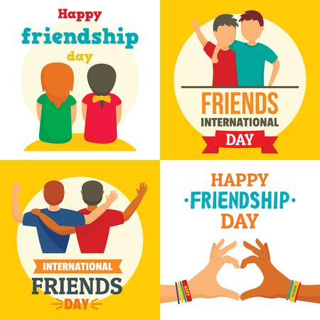 Friends day banner set, flat style
