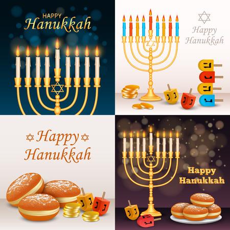 Hanukkah banner set, realistic style