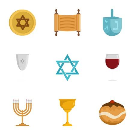 Jewish religion icon set, flat style