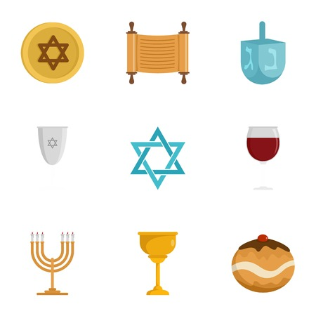 Jewish religion icon set, flat style Illustration