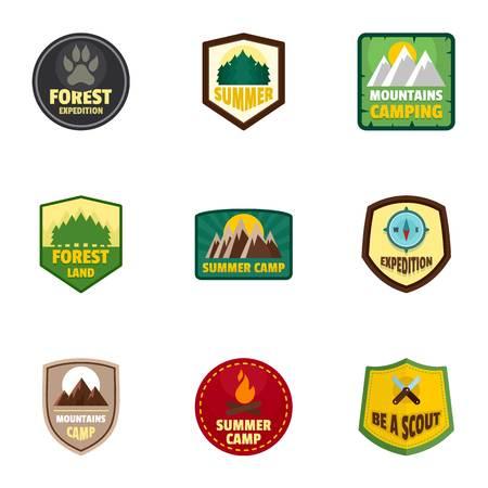 Camp expedition logo emblem set, flat style Stock Illustratie