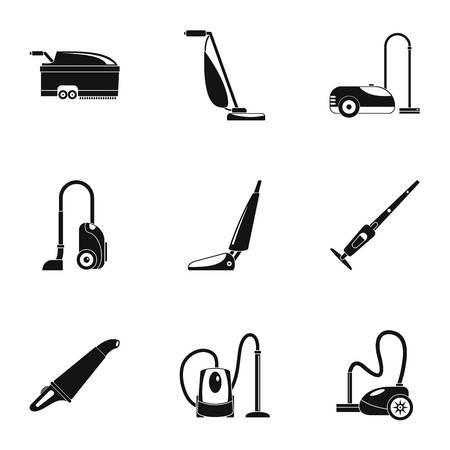 Conjunto de iconos de barredora de alfombras, estilo simple