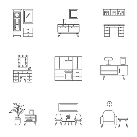 Modern home furniture icon set, outline style
