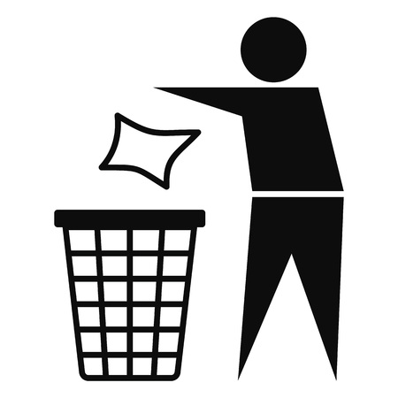 Drop garbage bin icon, simple style