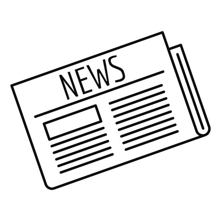 Newspaper icon, outline style Illustration