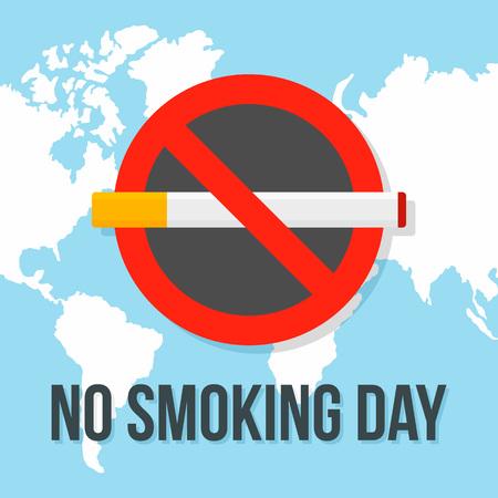 Globaler Nichtrauchertag-Konzepthintergrund, flacher Stil