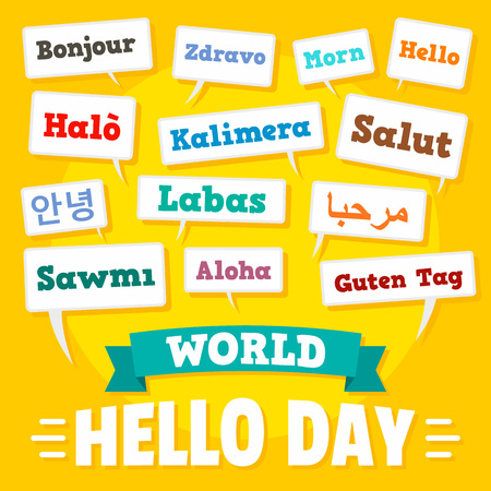 Hello day concept background, flat style Illustration