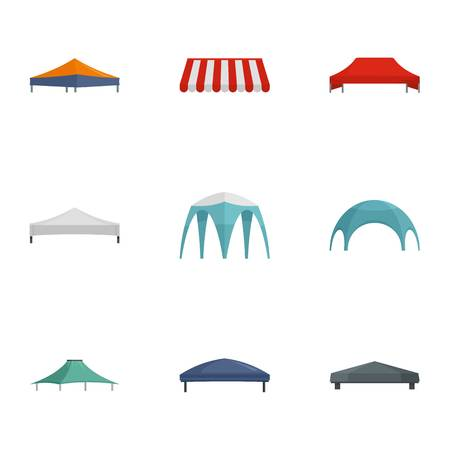 Commercial tent icon set. Flat set of 9 commercial tent vector icons for web design 版權商用圖片 - 110336816