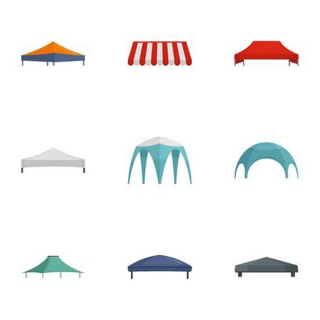 Conjunto de iconos de carpa comercial. Conjunto plano de 9 iconos de vector de carpa comercial para diseño web