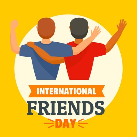 International friends day concept background, flat style Illustration
