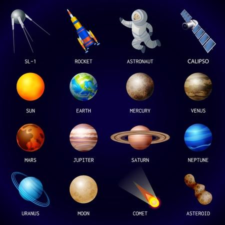 Insieme dell'icona di pianeti, stile cartone animato Vettoriali