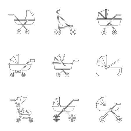 Baby stroller icon set. Outline set of 9 baby stroller vector icons for web design isolated on white background Ilustração