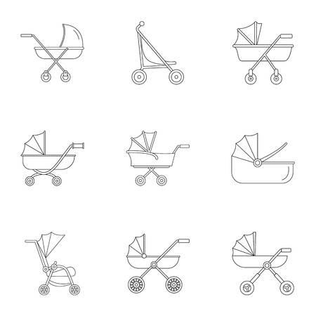 Baby stroller icon set. Outline set of 9 baby stroller vector icons for web design isolated on white background Illustration