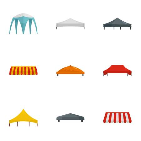 Event tent icon set. Flat set of 9 event tent vector icons for web design 向量圖像
