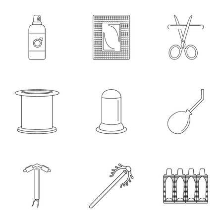 Contraceptive medicine icon set. Outline set of 9 contraceptive medicine vector icons for web design isolated on white background
