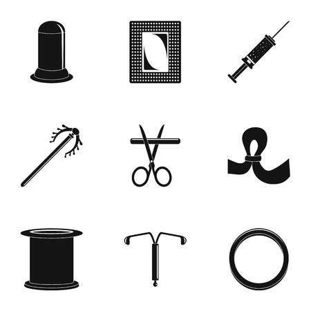 Contraceptive medicine icon set. Simple set of 9 contraceptive medicine vector icons for web design on white background