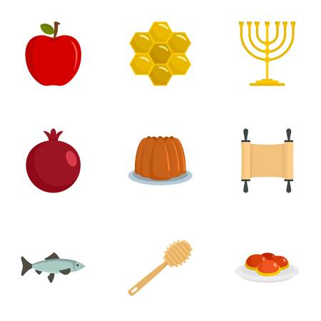 Jeu d'icônes de vacances d'Israël. Ensemble plat de 9 icônes vectorielles de vacances en Israël pour la conception web