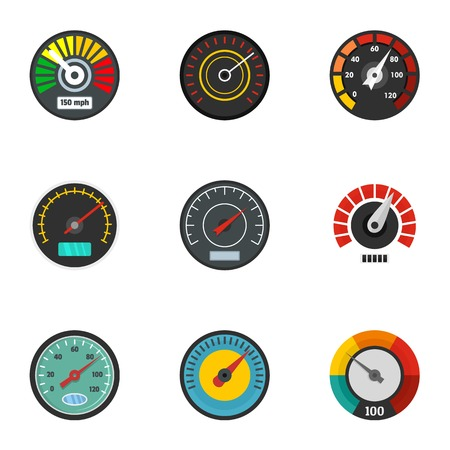Car gauge icon set. Flat set of 9 car gauge vector icons for web design