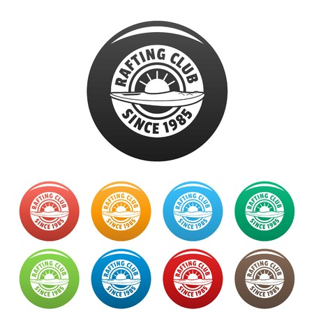 Rafting club icons set 9 color vector isolated on white for any design Ilustração